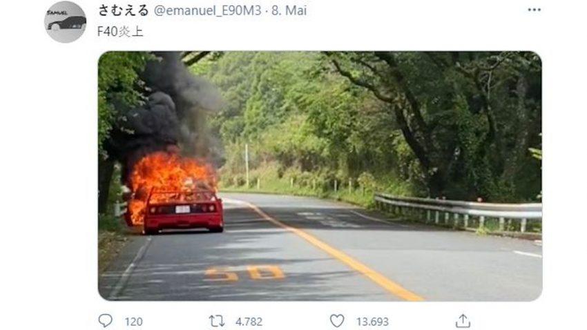 Ferrari F40 am Hakone Turnpike ausgebrannt