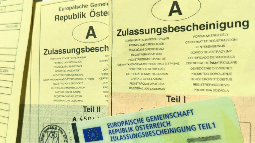 Zulassungsbescheinigung (Zulassungsschein) in Österreich
