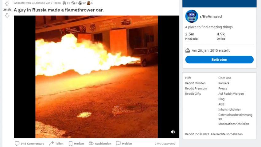 Der Flammenwerfer-Lada [Video]